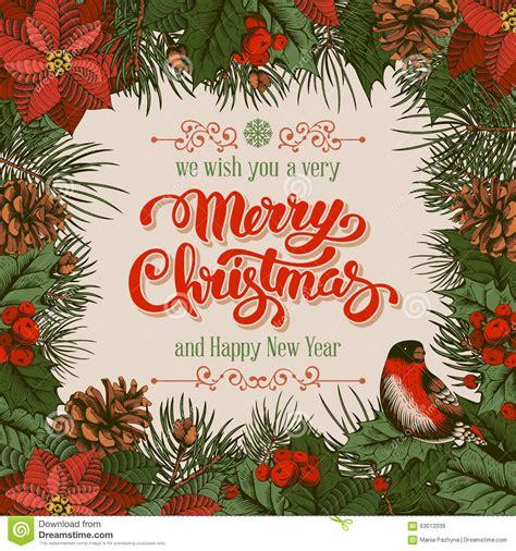 merry christmas card stock vector illustration  poinsettia