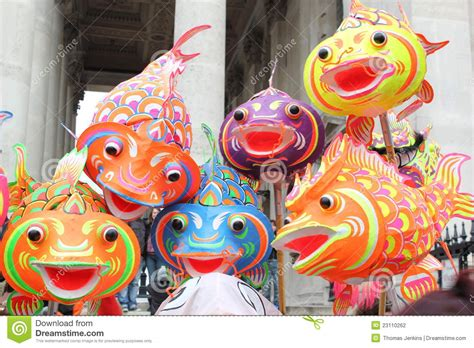 Dekorate paper fish dancing at chinese new year london stock