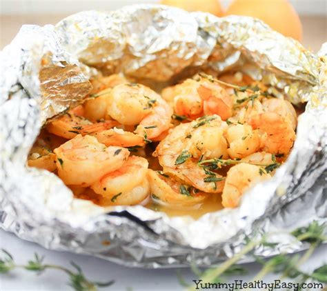 orange thyme grilled shrimp in foil packets yummy