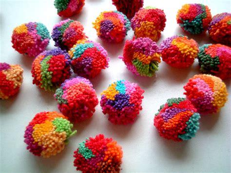 Handmade Pom Poms - mixed colors pom poms yarn pom poms cotton pom pom yarn