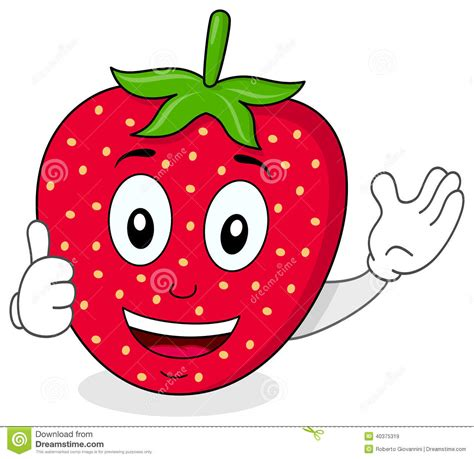 strawberry cartoon happy strawberry thumbs up character stock vector