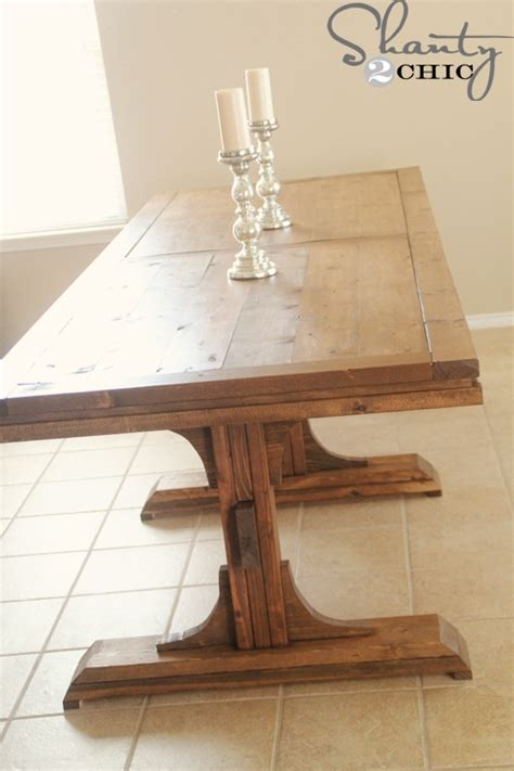 How To Build A Dining Table Diy Dining Table Pedestal Farmhouse Shanty 2 Chic
