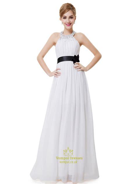 white halter neck beaded chiffon bridesmaid dress with