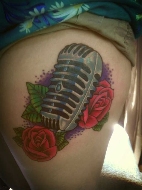 microphone flower tattoo music notes and microphone tattoo design by akadrowzy
