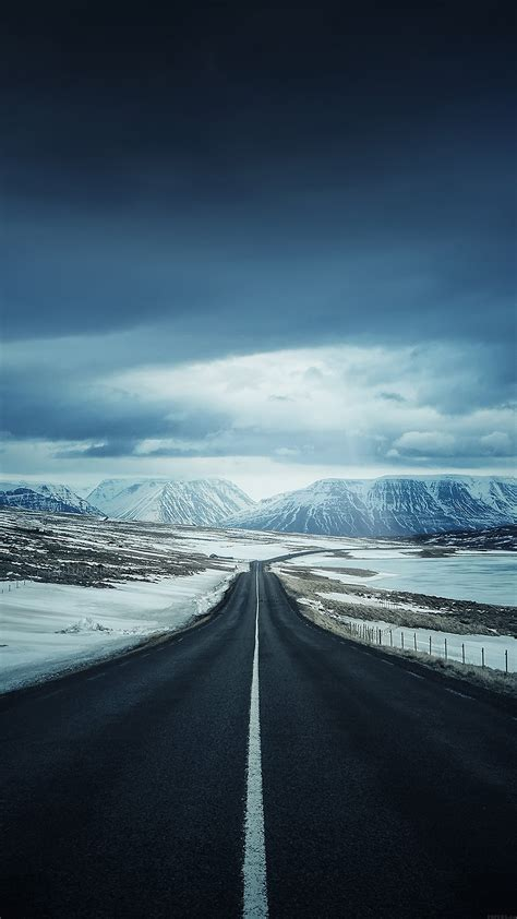 ml road  snow mountain nature winter papersco