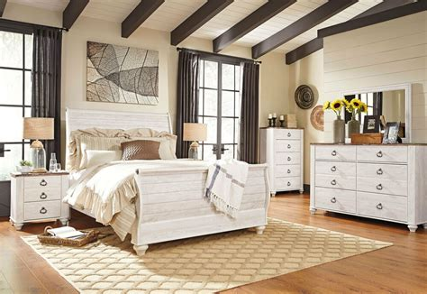 ashley furniture  willowton white queen king sleigh bed frame bedroom set ebay
