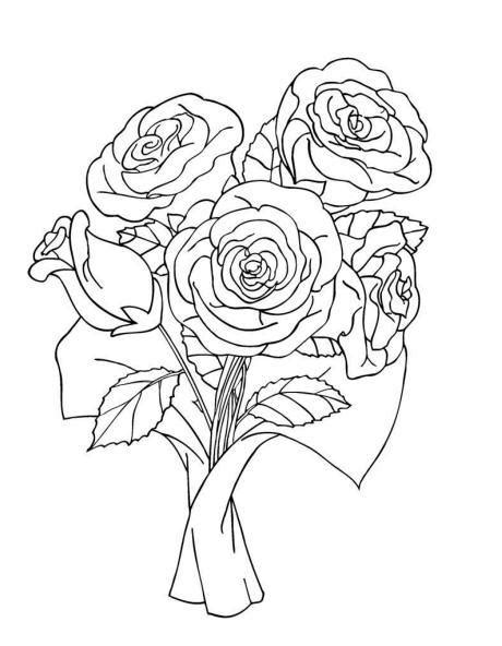 bouquet of roses coloring pages coloring page