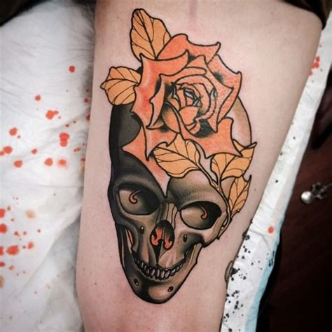 tattoo flower neo traditional neo traditional colored thigh tattoo of human skull with