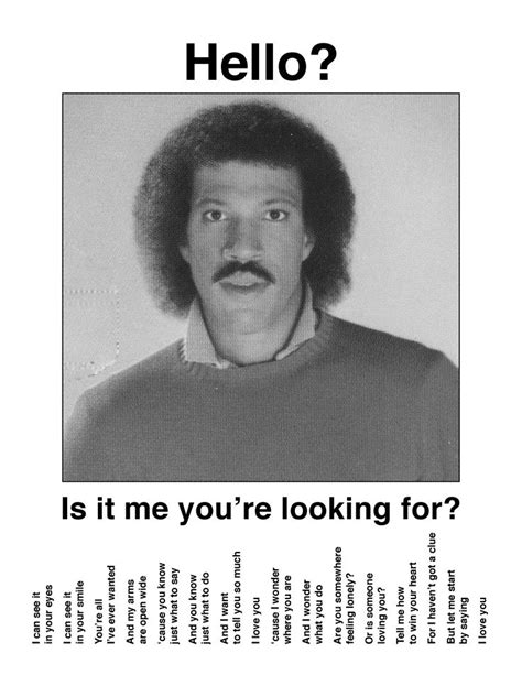 Lionel Richie Hello Meme - 133 best images about lyric and music puns and wordplay on