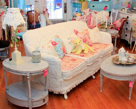 Shabby Chic Sofa Slipcovered With Vintage Chenille Shabby Chic Living Room Furniture