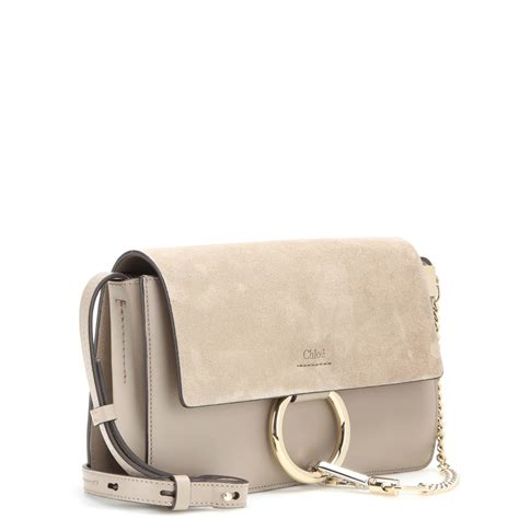 chlo 233 small leather and suede shoulder bag in