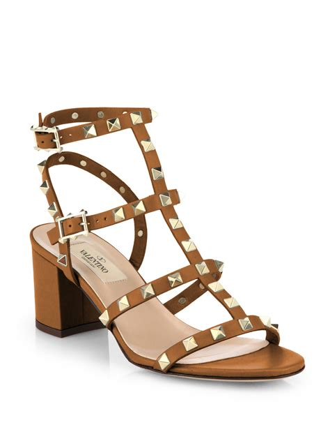 sandal valentino valentino rockstud leather sandals in brown lyst