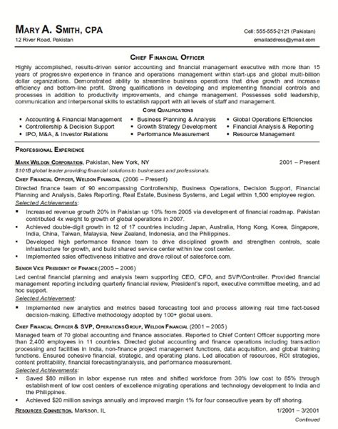 Cfo Resume by Resume Sle 21 Cfo Finance Executive Resume Career