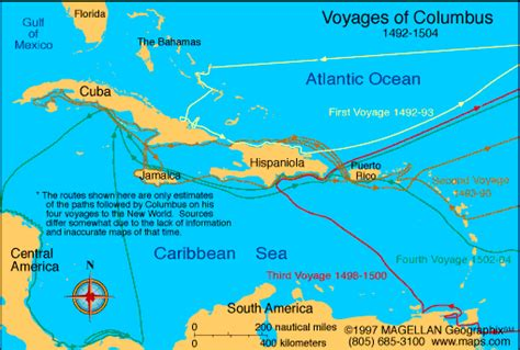columbus map columbuss four voyages map swimnova