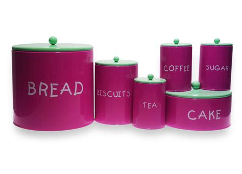 Colorful Kitchen Purple Tea Coffee Sugar Bread Box And
