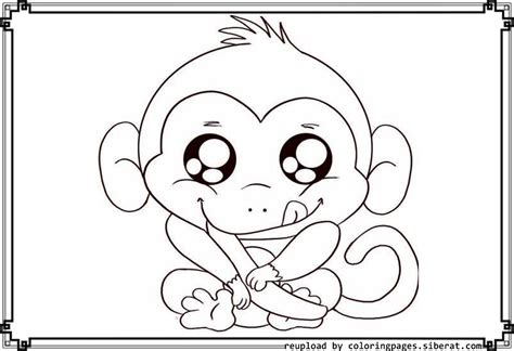 cute monkey coloring pages    print
