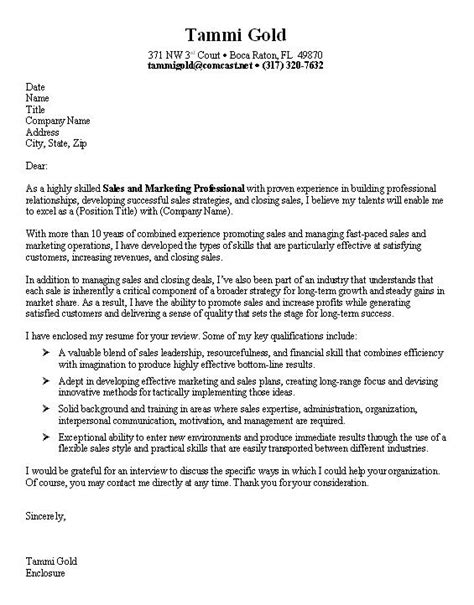 cover letter exles for marketing sle marketing cover letter
