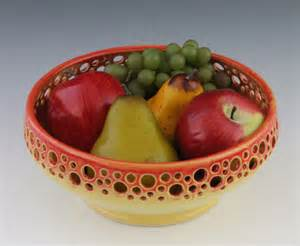 Decorative Fruit Bowl Decorative Fruit Bowl Wiith Yellow And Orange By Newdaypottery
