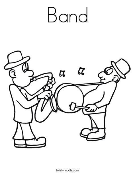band coloring page twisty noodle
