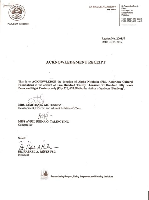 Acknowledgement Letter Philippines sendong all our one for iligan and cdo