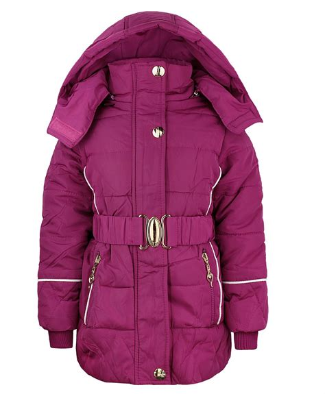 Childrens Quilted Jackets Uk by Quilted Jacket Padded Winter Coat Detach Fur Lined 3 14y Ebay