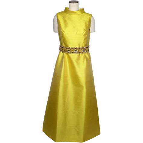 chagne beaded gown vintage 1960s yellow silk formal evening gown beaded belt