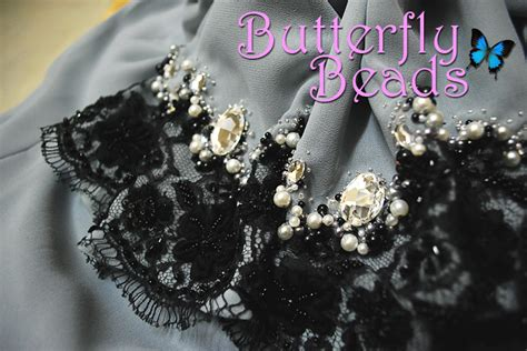 Lace Buterfly Hitam butterfly sulaman manik dan labuci kelas jahitan sulaman manik black