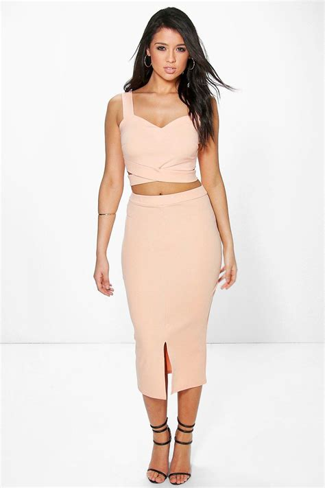 Set In Top wrap top midaxi skirt co ord set at boohoo