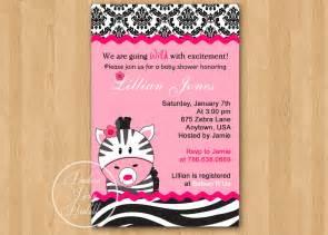 pink zebra baby shower invitation diy custom printable