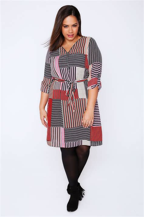 Black Stripe Waist Dress pink black mixed stripe zip front dress with waist