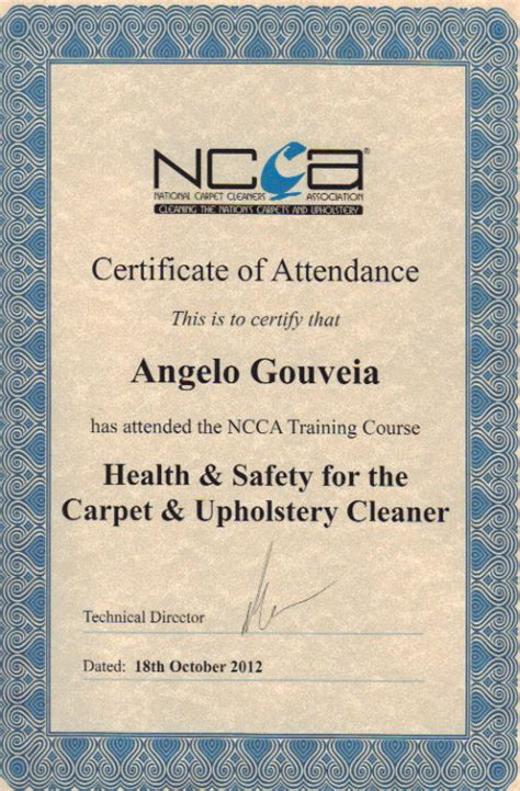 Free Carpet Quote by Office Carpet Clean Certificate Health Amp Safety