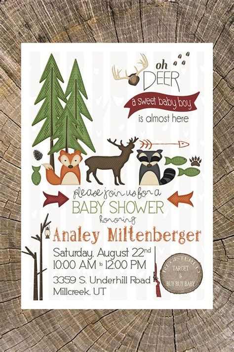 backyard baby shower invitations outdoor baby shower invitation hunting cing animals critters boys outdoor