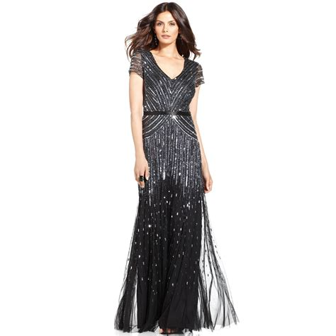 beaded gown papell cap sleeve beaded sequined gown in