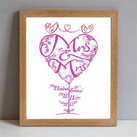 Wedding Gift Print by Mrs And Mrs Personalised Wedding Gift Print By Wetpaint