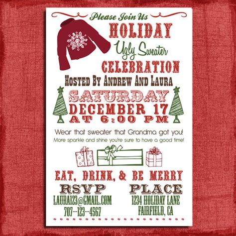 ugly christmas sweater party invitations template best