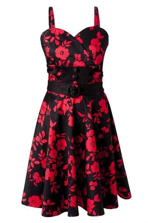 red swing dresses 50s floral black red swing dress