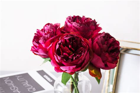 Tall Home Decor 1pc Fuchsia Peony Peonies A Grade Silk Flower Lana