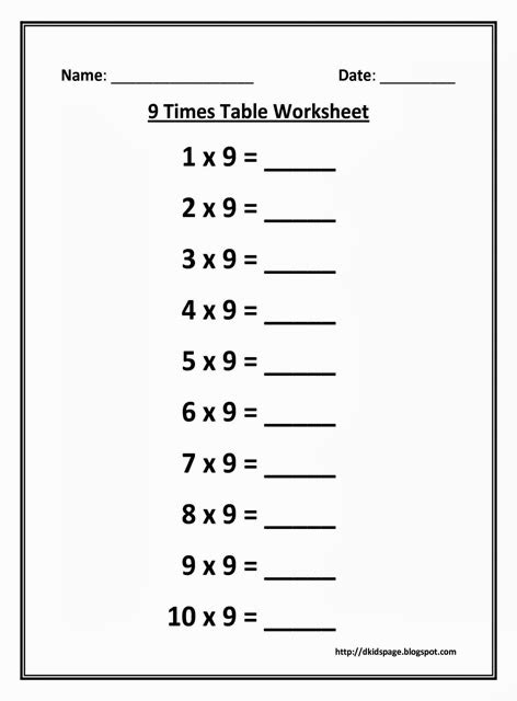 9 Multiplication Table Worksheet by Page 9 Times Multiplication Table Worksheet