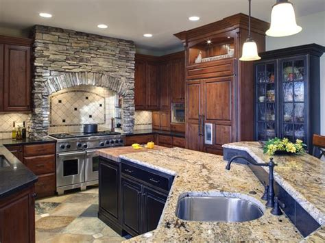 old world kitchens hgtv traditional kitchen with rich wood cabinets and stone