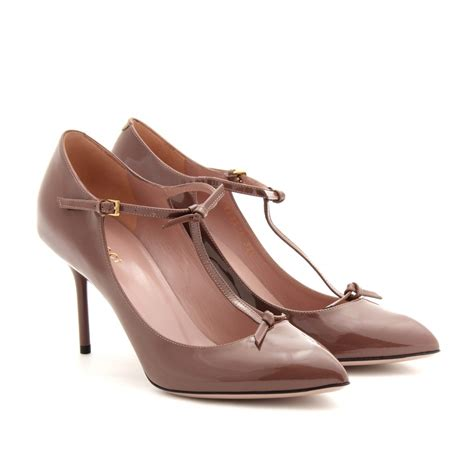 Gucci Heels 1 gucci beverly patent leather pumps in brown lyst