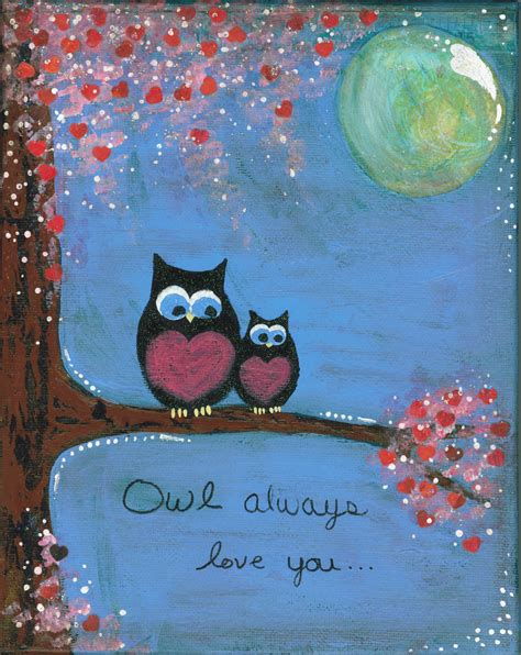 valentines painting original whimsical mixed media owl with tree flower