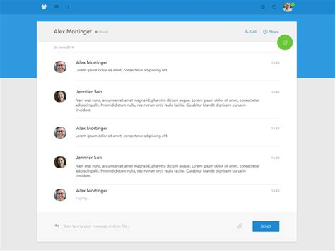 material design chat uplabs