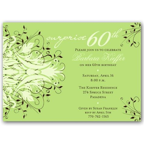 60th Birthday Card Wording Andromeda Green Surprise 60th Birthday Invitations
