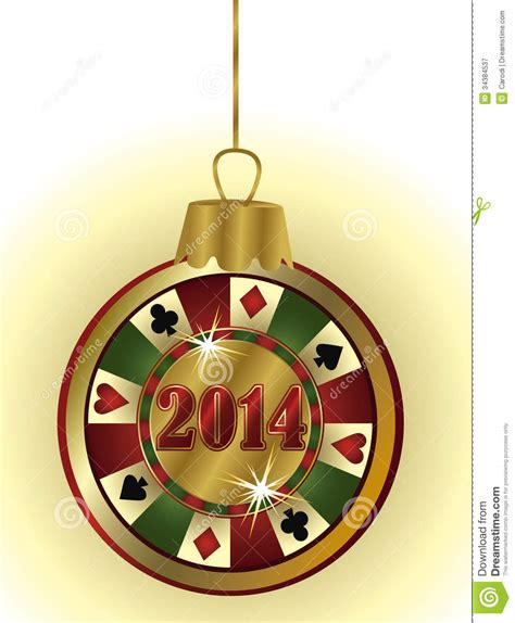 happy new 2014 year casino chip royalty free stock
