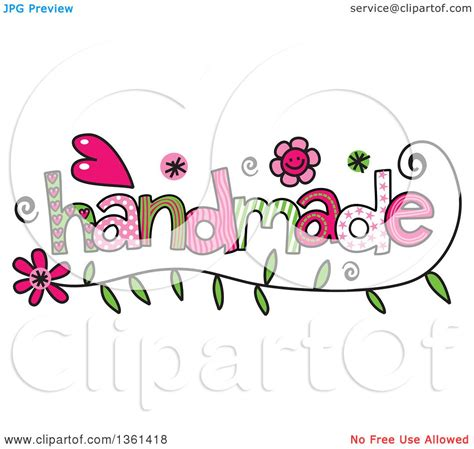 Handmade Word - clipart of colorful sketched handmade word royalty