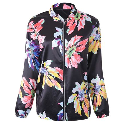 Print Baseball Jacket flower print baseball jacket black jackets coats zaful