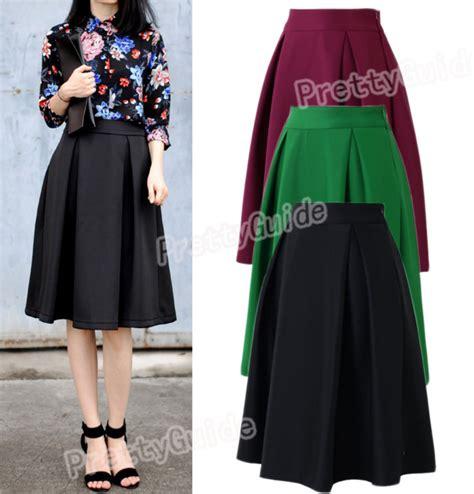 retro high waist a line pleated swing dress