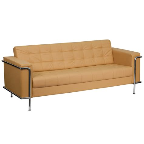 steel frame sofa light brown leather tufted sofa with stainless steel frame