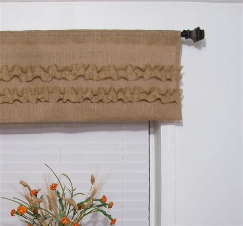 rustic kitchen curtains burlap ruffled valance rustic curtain by supplierofdreams