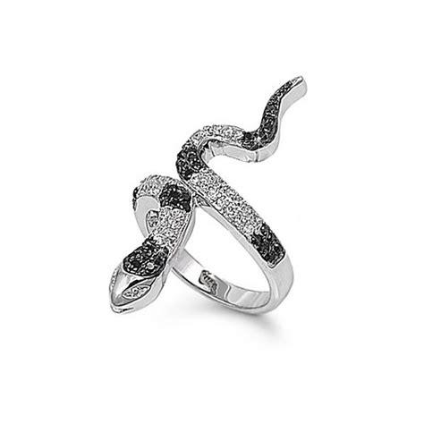 sterling silver black and white cz snake ring kriskate co